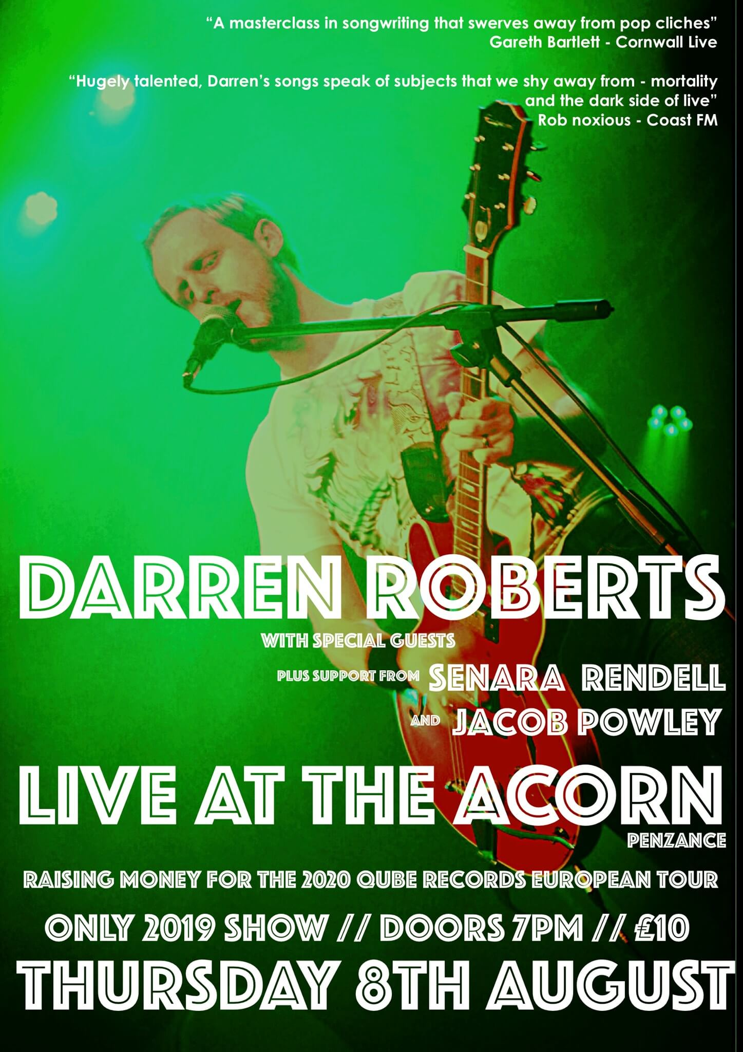 Darren Roberts + Support from Jacob powley & Senara Rendell